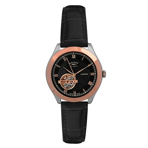 Rotary Jura men's gold plated black leather strap watch