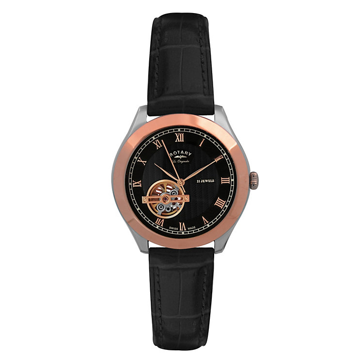 Rotary Jura men's gold plated black leather strap watch - Product number 9531726