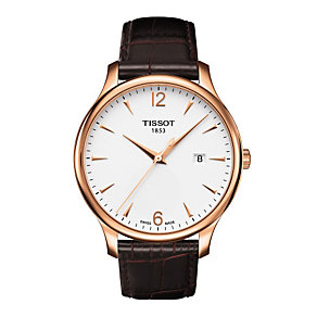 Tissot Men's rose gold brown leather strap watch - Product number 9534911