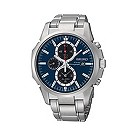 Seiko Solar men's stainless steel blue chronograph watch - Product number 9541357