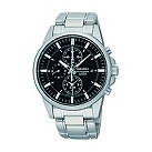 Seiko 100M men's stainless steel black chronograph watch - Product number 9541438