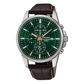 Seiko men's green dial chronograph strap watch - Product number 9541454