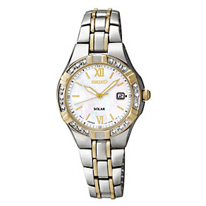 Seiko Solar ladies' two colour stone set bracelet watch - Product number 9541594