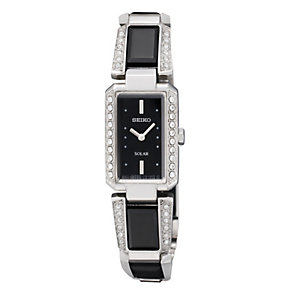 Seiko Solar ladies' black ceramic stone set watch - Product number 9542965