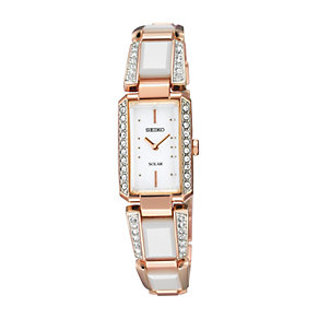 Seiko Solar ladies' white ceramic & rose gold plated watch - Product number 9542981
