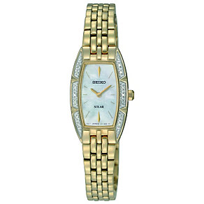 Seiko Solar ladies' stone set gold plated bracelet watch - Product number 9543031