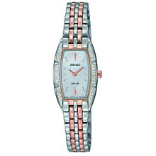 Seiko Solar ladies' two colour stone set bracelet watch - Product number 9543058