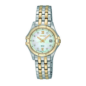 Seiko ladies' two colour stone set bracelet watch - Product number 9543082