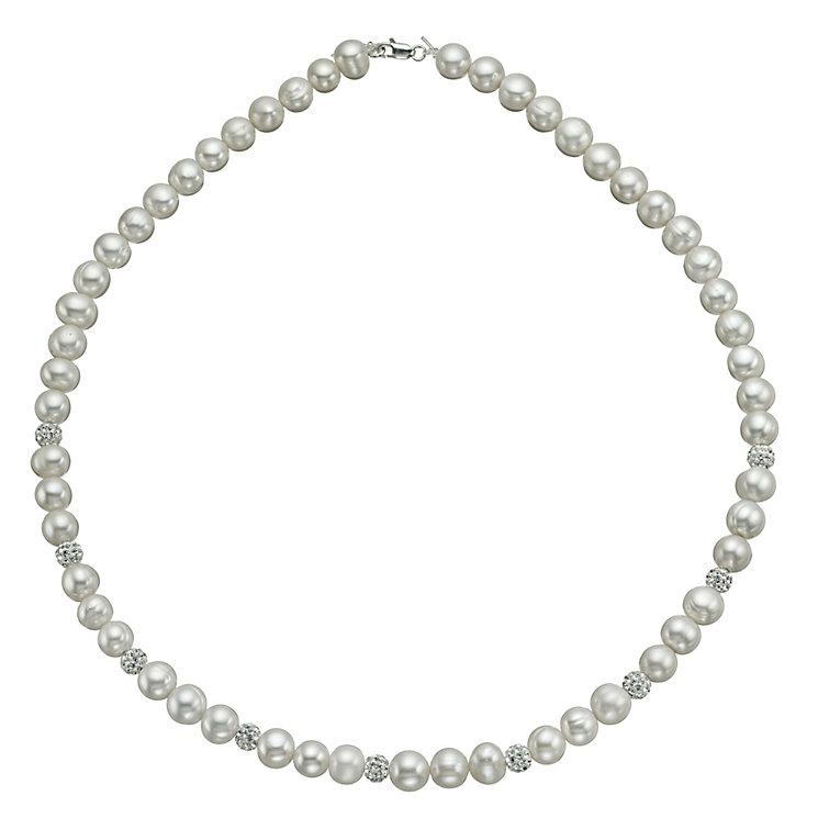 Sterling Silver Crystal Cultured Freshwater Pearl Necklace