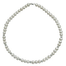 Sterling Silver Crystal Cultured Freshwater Pearl Necklace - Product number 9544208