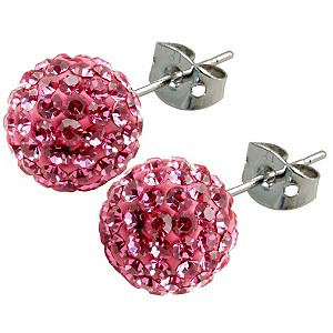 Tresor Paris Proussy 8mm pink crystal ball stud earrings - Product number 9546200