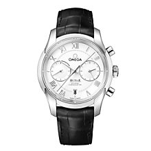 Omega De Ville stainless steel black leather strap watch - Product number 9552278