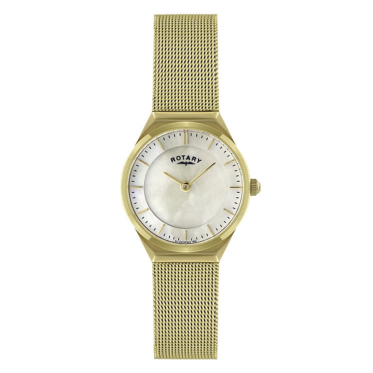 Rotary Ladies Gold Plated Mesh Bracelet Watch - Product number 9552456