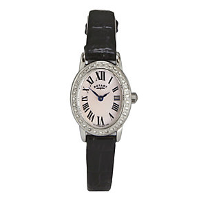 Rotary Ladies' Black Strap Oval Dial Watch - Product number 9553452