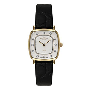 Rotary Ladies' Black Strap Stone Set Cushion Dial Watch - Product number 9553584