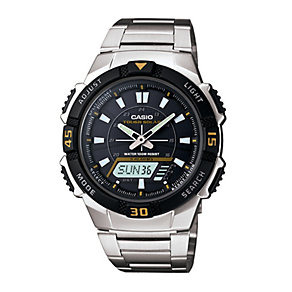 Casio Men's Solar Black Dial Stainless Steel Bracelet Watch - Product number 9554025