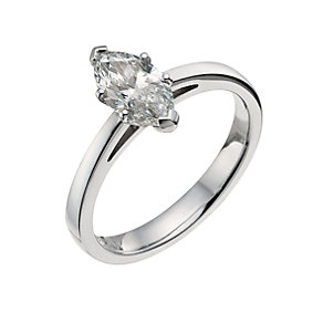 18ct white gold one carat marquise solitaire - Product number 9555765