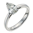 18ct white gold one carat pear solitaire ring - Product number 9556044