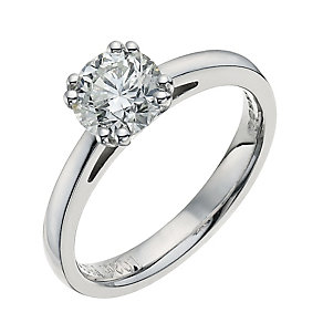 18ct white gold one carat diamond solitaire ring - Product number 9556176
