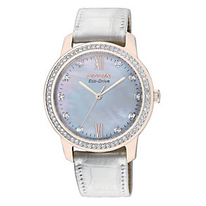 Citizen Eco Drive Ladies' Stone Set White Strap Watch - Product number 9561242