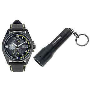 Citizen Eco Drive Men's Black Watch & Torch Gift Set - Product number 9561250