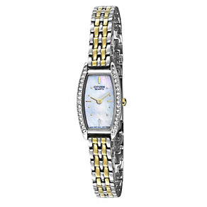Citizen Ladies' Quartz Two Colour Stone Set Bracelet Watch - Product number 9561285