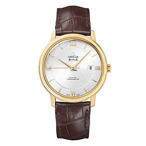 Omega De Ville Men's 18ct gold brown leather strap watch - Product number 9561455