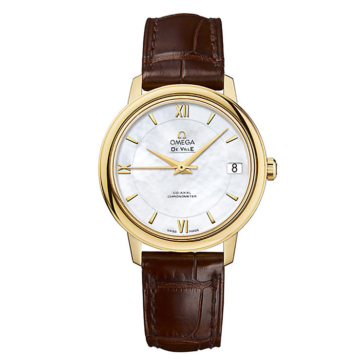 Omega De Ville Prestige ladies' brown leather strap watch - Product number 9561463