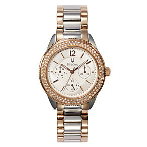 Bulova Ladies' Two Colour Crystal Set Bracelet Watch - Product number 9562257