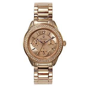 Bulova Ladies' Rose Gold Plated Crystal Set Bracelet Watch - Product number 9562265