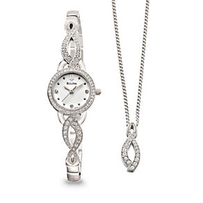 Bulova Ladies' Crystal Watch & Necklace Set - Product number 9562338
