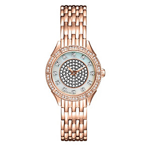 Bulova Ladies' Rose Gold-Plated Crystal Bracelet Watch - Product number 9562346