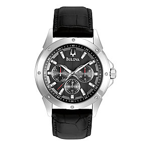 Bulova Men's Multi Dial Black Strap Watch - Product number 9562508