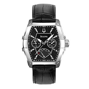Bulova Men's Tonneau Multi Dial Black Leather Strap Watch - Product number 9562516