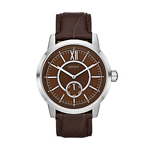 DKNY Men's Brown Dial Leather Strap Watch - Product number 9563792