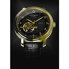 Rotary Jura Men's Gold Plated Black Strap Watch - Product number 9563881