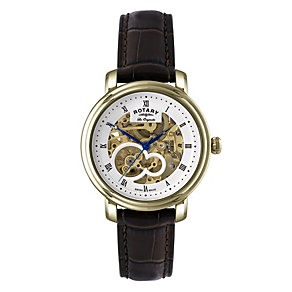 Rotary Jura Men's Gold Plated Skeleton Strap Watch - Product number 9563903