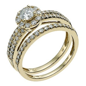 18ct yellow gold 1 carat diamond halo bridal set - Product number 9564411