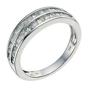 18ct white gold half carat diamond double row eternity ring - Product number 9564543
