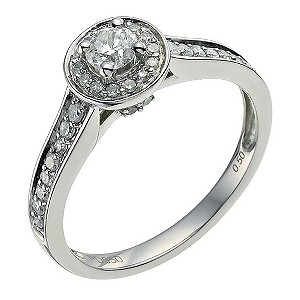 Palladium 950 1/2 carat diamond solitaire halo ring - Product number 9565868