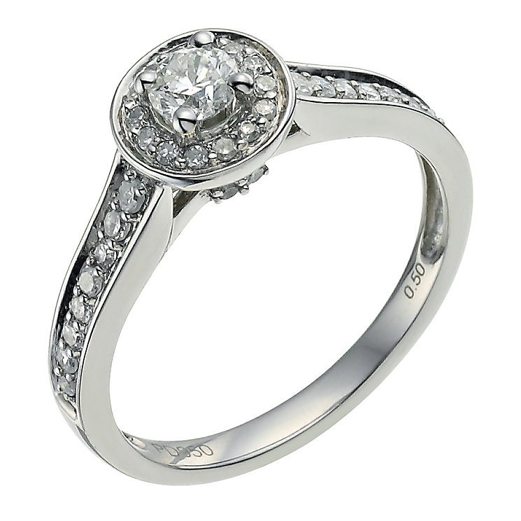 Palladium 950 0.50ct diamond solitaire halo ring - Product number 9565868