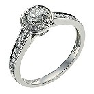 Palladium 1/2 carat diamond solitaire halo ring - Product number 9565868