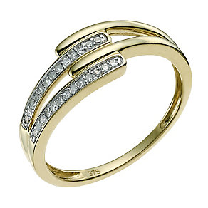 9ct yellow gold diamond wishbone crossover ring - Product number 9566392