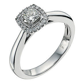 18ct white gold 0.40 point diamond cushion solitaire ring - Product number 9566538