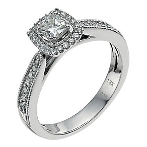 18ct white gold 0.50ct diamond cushion cut ring - Product number 9566651
