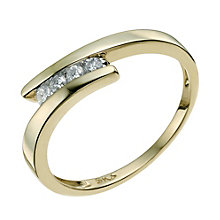 9ct yellow gold 0.15 carat diamond crossover ring - Product number 9567186