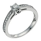Palladium 950 half carat diamond solitaire ring - Product number 9567305