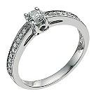 Palladium 950 half carat diamond solitaire ring - Product number 9567305