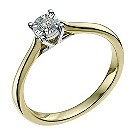 9ct yellow & white gold 0.10 carat diamond solitaire ring - Product number 9567712