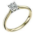 9ct yellow & white gold 0.17 carat diamond solitaire ring - Product number 9567852